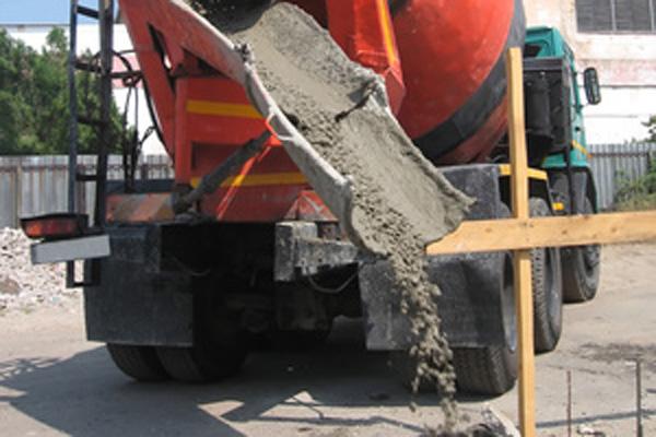 Concrete mixer working